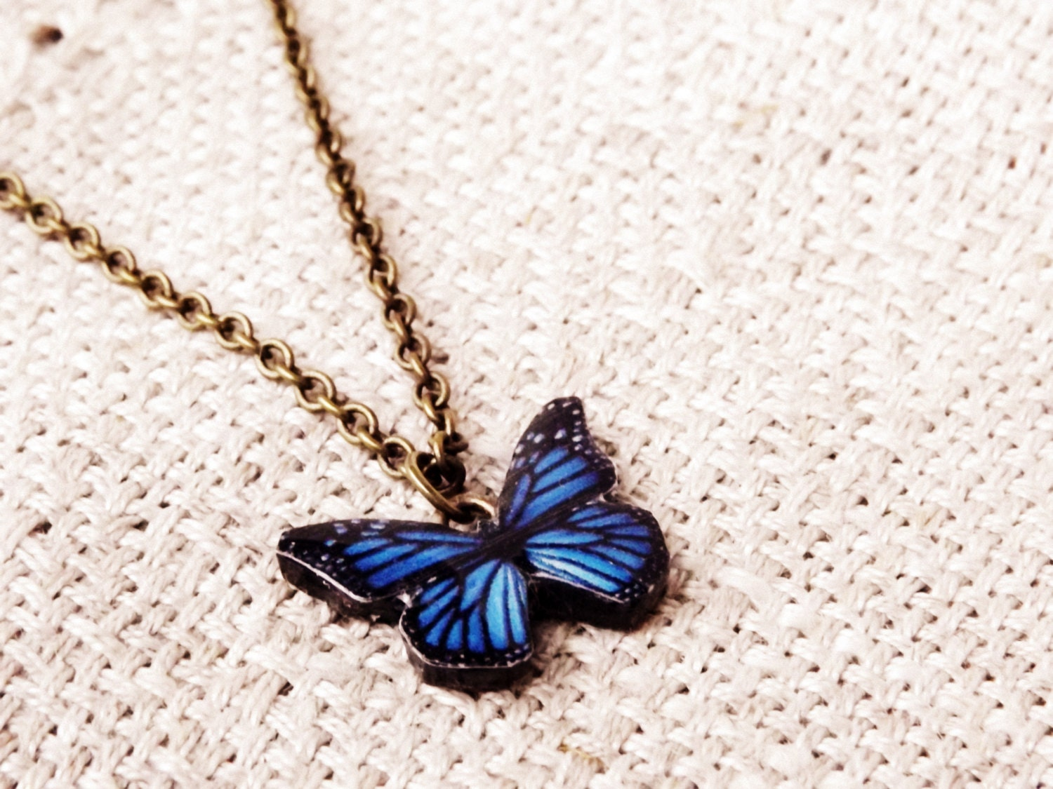 Stylish jewelry Open front necklace BLUE BUTTERFLY NECKLACE Butterfly necklace Aluminium wire necklace Jean blue jewelry