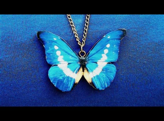 Blue Butterfly Jewelry: Blue Butterfly Necklace Summer Jewelry Butterfly Necklace