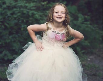 c3a6ed0c8c2 Ivory tutu with and crystals -lace flower girl tutu dress