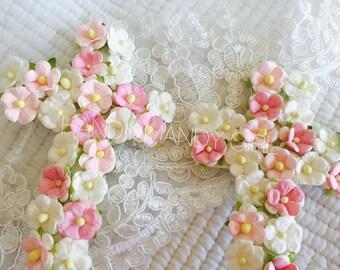 Floral vintage cross or monogram cake topper for weddings and christenings baptisms birthdays