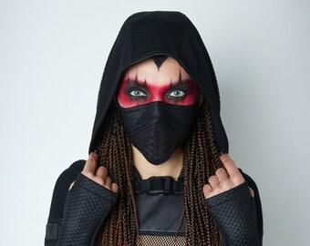 Cyberpunk shrug, wasteland black sleeves with hood -  SH60w Q6