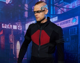 Black cyberpunk vest  futuristic armor - 488-L man