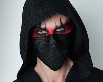 Black face mask with nose wire, cyberpunk mask - MC-Q6