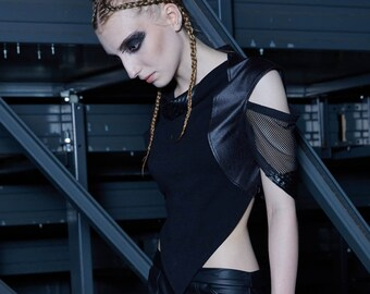 Goth crop top gothic clothing dystopian alternative woman top burning man open shoulder top heavy metal clothing -W2
