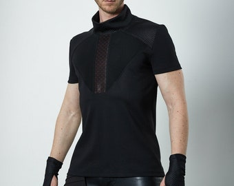 Cyberpunk shirt dystopian clothing, hexagonal shirt black - K-4 man Q6