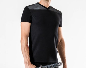 Futuristic black leather shirt, v-neck geometric t-shirt - D2 L
