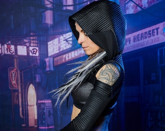 Hooded shrug, wasteland shrug black cyberpunk sleeves -  SH45 w