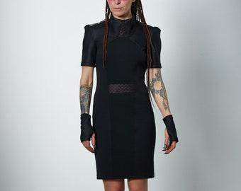 Black cyberpunk dress, futuristic clothig for women - LIA dress