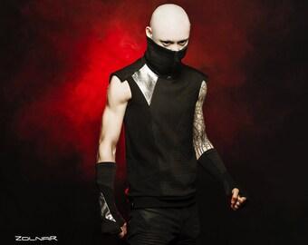 Mens cyberpunk vest, pocket, high collar black Sci-Fi - 422 vest