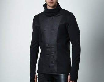 Cyberpunk sweater thumbhole sleeves futuristic clothing - CC2 Q6 man