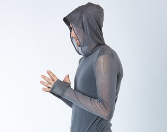 Men's dystopian shirt with thumbhole sleeves, see-through shirt-  F1