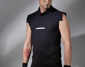 Black cyberpunk vest - avant garde shirt, sleeveless futuristic shirt cyberpunk clothing cyber top alternative modern sci-fi - PRI man