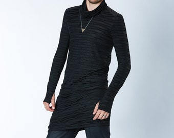 Long black Caftan Men's tunic, thumbholes sleeves  - F4