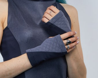 Gray arm warmers jersey fingerless gloves driving - WRW2 gray