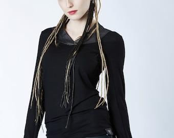 Black heavy metal shirt, thumbhole sleeves faux leather v-neck dark fashion alternative - K6 women