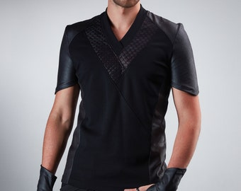Black shirt Futuristic clothing sith shirt v-neck -638 shirt