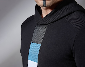 Black Cyberpunk sweater, futuristic hoodie thumbhole sleeves, sci-fi clothing goth fashion alternative avant garde