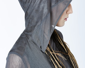 Post-apocalyptic hoodie gray leather cuffs, thumbholes sleeves - F2w