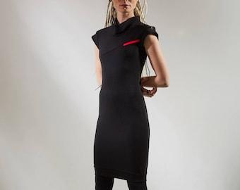 Black pencil office dress, bodycon dress futuristic cyberpunk tight dress - CD