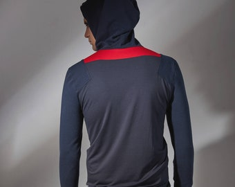 Long hoodie with thumbholes,  cyberpunk grey hoodie  -ARR grey