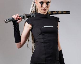 Cyberpunk vest black futuristic clothing industrial avant-garde PRI woman
