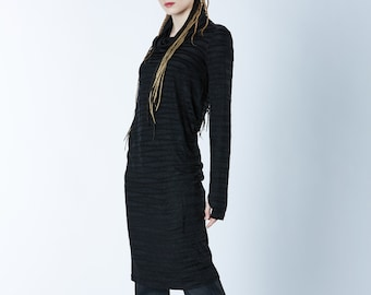 Long sweater dress caftan dystopian thumbhole sweater black tunic -F4