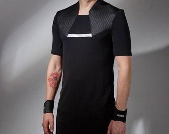 Futuristic clothing black long shirt cyberpunk shirt mens long shirt industrial cyberpunk clothing futuristic for men sci-fi clothing  ILM
