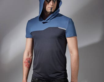 Hooded shirt sci fi clothing short sleeve hoodie sci-fi mens clothing cyberpunk shirt with hood hooded tshirt blue futuristic cyber MTS grey