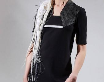 Black dress shirt avant-garde clothing loose dress shirt 3/4 sleeve tunic casual tunic longline clothing futuristic women top loose top ILM