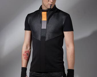 Cyberpunk shirt sci-fi shirt cyberpunk clothing futuristic clothing alternative clothing black cyber shirt black mens t-shirt industrial CNS