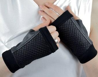 Black arm warmers fingerless gloves minimalist geometric mittens - WRP-4S Q6
