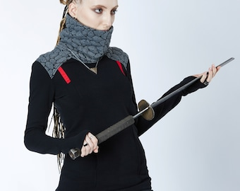Cyberpunk sweater thumbhole sleeves, Futuristic turtleneck sweater - BU2 grey cyberpunk clothing