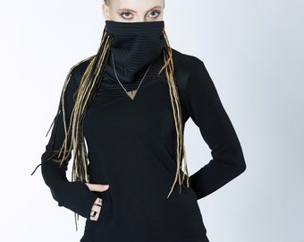 Turtleneck sweater with pocket thumbhole sleeve cyberpunk clothing  -GR3 woman