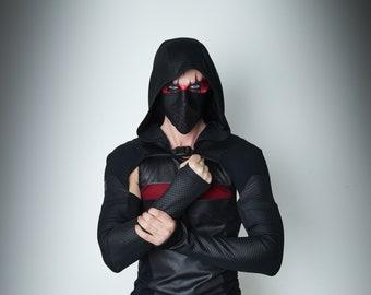 Hooded men shrug, wasteland shrug black cyberpunk sleeves -  SH60 Man Q6