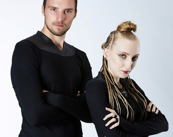 Matching shirts for couple, Star wars cosplay, vegan leather shirt, thumbhole sleeves all black clothing - K6 set