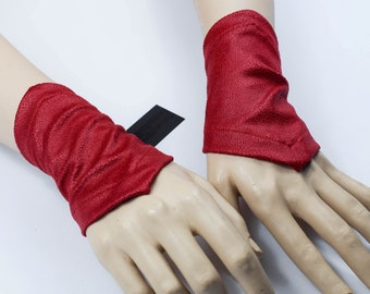 Eco leather bracelets red, wrist armband red leather wristband, steampunk clothing - GAU