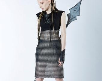 Silver mesh dress, sheer long top and skirt, Futuristic clothing - A4 dress