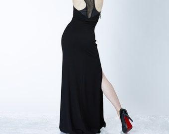 Black maxi dress racerback  gothic clothing - T9
