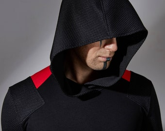 Cyberpunk hoodie futuristic clothing cyberpunk thumbholes hoodie longline shirt cyber cyberpunk arrow cosplay long hoodie lightweight - ARR