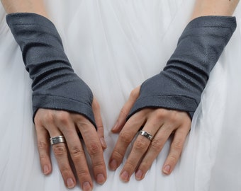 Grey half finger gloves, eco leather gloves, festival clothing  - X-WRW