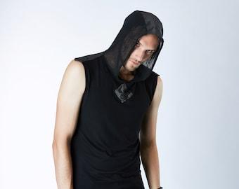 All black rave hood vest festival clothing,  black goth hoodie lightweight industrial hoodie - S1