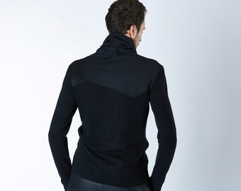 Cyberpunk sweater avant garde clothing futuristic for men, Thumbhole turtleneck sweater asymmetrical clothing black - GR3