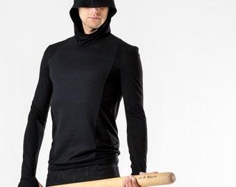 Cyberpunk hoodie gothic clothing futuristic black goth hoodie lightweight industrial avant garde hoodie thumbhole sleeves gift for gamer Mi8