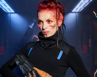 Black sci-fi sweater thumbhole sleeves, alternative clothing  turtleneck sweater - BU2 woman cyberpunk