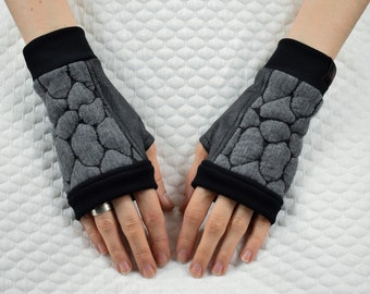 Fingerless mittens, leather gloves, geometric - WRP-4S
