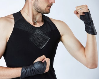 Music festival tank muscle tank racerback top, rave vest dystopian clothing workout -T9