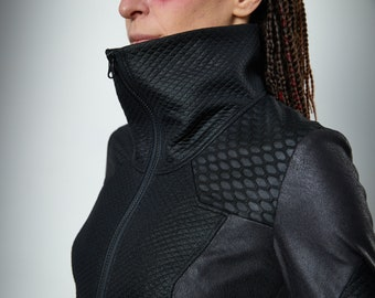 Cyberpunk jacket with faux leather honeycomb mesh - 389 woman
