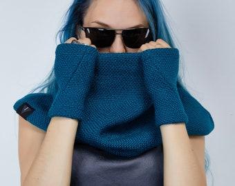 Blue wool gloves half-finger arm warmers fingerless gloves - WRW2 blue
