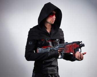 Hooded men shrug, wasteland shrug black cyberpunk sleeves -  AS2 Man