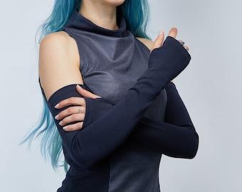 Long fingerless gloves, gray arm warmers gift for mom - FG gray